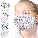 Jago® Masque en Tissu pour Enfant - Lavable, 5 Pièces (Motifs Vivants), OEKO-TEX Standard 100, Réutilisable, 100% Coton, 3-8 ans - Masques Bouche Nez, Facial, pour Fille, Garçon
