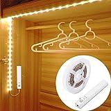 Lampe de Placard,LUXJET® 45LED 1.5M Veilleuse Bande Lumineuse Ruban,Lampe de capteur de mouvement pour placard/armoire/placard escalier/couloir/armoire,Alimentée par Batterie