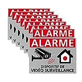Autocollants vidéo Surveillance, Dispositif sous Vidéo Surveillance, Lot de 8 adhésifs. Stickers Alarme et sécurité - 80 x 60 mm, Argent brossé