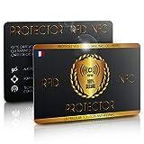 Carte Anti RFID/NFC, Protège Toutes Vos Cartes Bancaires des Hackers, Fini Les Etuis et Pochettes, Carte Anti Piratage, Protege Passeport/Carte Bleue sans Contact, 1 Suffit (1 Carte)