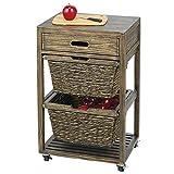 mDesign table d'appoint à roulettes – chariot de cuisine moderne à 4 roues et 2 corbeilles tressées – desserte de cuisine mobile avec cadre en bois solide – noir