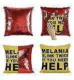 Générique Melania Blink for Help_P258 Pillow Taie, Décor du Foyer décoratif, drôle Cadeau pour Les Enfants, Finds Intéressant, Magique sirène réversible CoussinNO Pillow Insert