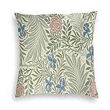Housse de coussin carrée en velours doux - Motif floral William Morris Larkspur - Décoration de la maison pour canapé, lit, fauteuil, 45 x 45 cm