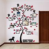 Alicemall Stickers Autocollants Muraux Amovibles 3D en Acrylique Arbre avec des Branches Incurvées et des Cadres de Photo (Style 3(Feuilles Rouges))