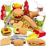 Buyger Dinette Enfant Hamburger Jouet Aliment Cuisine avec Plateau Frites Hot-Dogs, Jeu d'imitation 3 4 5 Ans