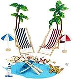 Adkwse Lot de 12 chaises de plage pour micro-paysage, parasol, palmier