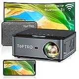 Videoprojecteur WiFi Bluetooth Full HD 1080P ,7500 Lumens TOPTRO Projecteur Portable Supporte 4K Retroprojecteur Compatible iPhone Android Téléphone,PPT Présentation