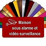 Plaque Maison sous Alarme Et Vidéosurveillance Autocollante – Plaque De Maison PVC Adhésive 10 x 5 cm – 21 Couleurs Disponibles (Rouge)