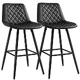 SONGMICS Lot de 2 Chaises de bar, Tabourets hauts, Siège de cuisine, cadre en métal, avec dossier et siège rembourré, repose-pieds en métal, surface matelassée en PU, charge 120 kg, Noir LJB025B01
