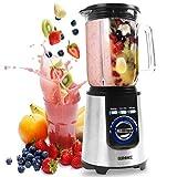 Duronic BL1200 Blender/Mixeur électrique de 1200W en Inox | Carafe en tritan de 1,8 Litre | 3 fonctions préenregistrées | Idéal pour smoothies, milkshakes, cocktails, glace pilée, fruits à coques
