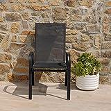 Lot de 4 chaises de jardin en métal et PVC pour jardin, terrasse, balcon, véranda, piscine - Noir