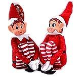GLOW Wholesale Elfie (garçon) et Elvie (Fille) Lot de 2 Figurines ludiques avec Corps Souple et Visage en Vinyle Rouge