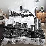 SUHETI Parure de lit Adulte,Housse de Couette,Brooklyn Bridge et Les toits de Manhattan dans la Nuit, New York City,1 Housse de Couette 220 x 240cm + 2 Taies d'Oreillers 50 x 75cm