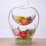 MXD Creative Fruit Basket Swing Panier De Rangement Fruits Plaque Double Couche Salon Décoration De Bonbons Plaque en Acier Inoxydable Panier De Vidange (Color : Rose Gold)