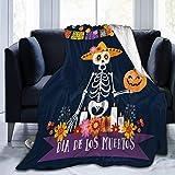 JOOCAR Couverture en flanelle - Motif tête de mort mexicaine - Confortable et douce - Pour lit, canapé, salon, fauteuil
