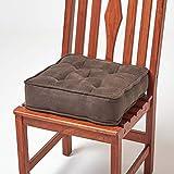 HOMESCAPES Galette de Chaise, Coussin de Chaise rehausseur en suédine Chocolat, 40 x 40 x 10 cm