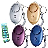 Tian 4 Packs 130DB Super Loud Alarme Personnelle D'urgence avec 12 Supplémentaire LR44 Batterie Bouton - Porte Cle Alarme Anti Agression avec Lumière LED for Femmes, Enfants, Personnes âgées