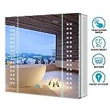 Tokvon Galaxy LED Armoire de Toilette éclairée avec variateur LED Prise Rasoir Anti-buée Points Lumineux 65x60cm en Aluminium pour Le Maquillage Rasage