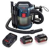 Bosch Professional 18V System aspirateur eau et poussière sans-fil GAS 18V-10 L (avec chargeur, 2 batteries GBA 18V 5.0Ah, flexible 1,6 m, coude, set de 3 tubes d'aspiration, autres accessoires)