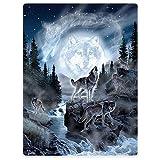 YISUMEI 150x200 cm Couverture Flanelle Douce D¨¦coration de Canap¨¦ Lit Automne et Hiver Loup De Lune,Gris