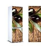 Oedim Stickers Autocollants Frigo Branche d'olivier Olives Noires Mesure 200 x 70 cm | Vinyle Adhésif Résistant et Facile d'appliquer | Étiquette Adhésive Décorative d'une Conception élégante |