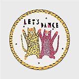 Tapis Bubble Kiss Creative Tapis rond Cartoon Chambre Cartoon Cute Dancing Tapis de Léopard pour salon Décoration de la maison Tapis pour enfants ( Color : Dancing Leopard , Size : 120cm Diameter )