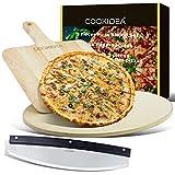 CookIdea Set de 3 moules à pizza pour four et barbecue comprenant une pierre à pizza, un peel et un coupe-pizza pour pizza