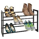 mDesign étagère à chaussure télescopique à 3 niveaux – meuble chaussure en métal extensible à 78,7 cm – étagère chaussures comme alternative compacte à une armoire chaussures – noir