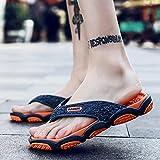Kirin-1 Sandalette Plage,Grand Code Personnes Flip Pantoufles Hommes Beach Anti-Slip-45_916 Orange