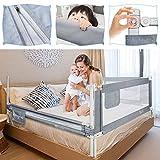 UISEBRT Barrière de lit enfant 180cm - Barrière de lit réglable en hauteur pour lit familial et lit bébé, Protection antichute pour lit, Gris