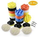 Zaeel Éponge de polissage pour voiture, Kit d'éponge de polissage avec adaptateur de foret M10, jeu de 25 tampons de polissage tampons d'épilation en laine pour polisseuse