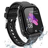 GPS Smartwatch pour Enfants étanche Téléphon - Kids Smart Watch Tracker Chat Vocal Lampe de Poche, Bracelet pour Enfant SOS Alarme Anti-Perte Cadeau de fête des Enfants Fille garçon, S8 Noir