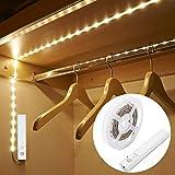 LED détecteur de mouvement Bandes lumineuses USB rechargeables pour armoire, placard, placard, veilleuse, barre de nuit intégrée à piles 3 modes à intensité variable Blanc chaud 3500 K (3 m)