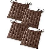 Gräfenstayn® Set de 4 Coussins d'Assise Coussins de Chaise 40x40x5cm pour intérieur et extérieur - 100% Coton - Différents Coloris – Rembourrage épais (Marron)