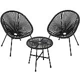 SONGMICS Salon de Jardin extérieur, Ensemble de 3 Meubles Acapulco, 2 chaises, 1 Table Verre trempé, pour terrasse, Balcon, intérieur,NoirGGF013B01