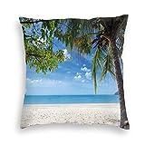 But why miss Housse de coussin carrée, motif plage tropicale, océan derrière palmier, image de vacances exotique, pour canapé