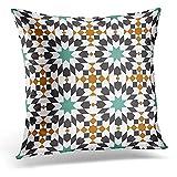Taie D'Oreiller,Arabesque Espagnole Colorée En Mosaïque De Style Marocain Alhambra Géométrique Traditionnelle Taies D'Oreiller De Nouveauté Attrayantes Pour Le Confort Et La Commodité Dans Les Vo
