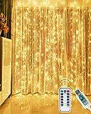 Kolpop Rideau Lumineux, 3M*3M USB Guirlande Lumineuse Rideau 300 LED 8 Modes Télécommande minuterie Deco pour Rideau De Mariage Patio Etanche Extérieur Intérieur Fête De Noël Jardin Chambre Décoration