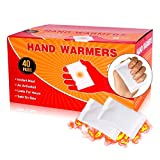 Qdreclod Lot de 40 paires de chauffe-mains jetables activées par l'air pour les mains, les orteils et le corps - Jusqu'à 8 heures de chauffage