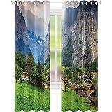 Green Fields Rideaux à isolation thermique, ville touristique Lauterbrunnen Bernois, obélande Suisse, Europe, 2 panneaux de 52 x 95 cm pour chambre de bébé, vert gris