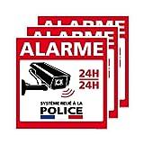 Panneau Alarme en Aluminium, Système relié à la Police, avec adhésif Autocollant Double Face au Dos - 200 x 200 mm, Lot de 3