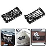 FAIHTS Filet de Rangement de Coffre Velcro Noir Filet de Rangement Universel Filet de Coffre de Voiture Flexible Filet de Rangement de Voiture de Camion (2 pièces 20 cm x 8 cm)