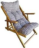 Fauteuil Chaise Longue Relax inclinable 3 Positions en Bois Pliant (Taupe)