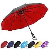 YumSur Parapluie Pliant, 10 Baleines Parapluie de Voyage Coupe-Vent avec Revêtement en Téflon,Ouverture et Fermeture Automatique pour Homme Femme Rouge