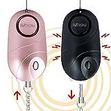 BXROIU 2 alarmes de poche, alarme personnelle de sécurité d'urgence de 140 décibels avec lumières LED, avertisseur de prévention de la criminalité pour les enfants, femmes et personnes âgées