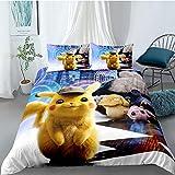 Tomifine Pokemon Parure de lit avec Pikachu Motif Housse de Couette 135 x 200 cm et 2 taies d'oreiller 50 x 75 cm avec Fermeture Éclair - Microfibre (Pika-E,135 x 200 cm)