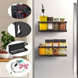 SONKENIR Lot de 2 étagères murales magnétiques pour réfrigérateur avec crochet et vis à installer sur le mur du réfrigérateur Blanc