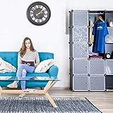 Relaxdays Étagère cubes rangement penderie armoire 12 compartiments plastique modulable HxlxP: 145,5 x 145,5 cm, noir