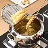 Casserole à friteuse Tempura, Mini poêle à Frire Cuisine à la Maison Casserole à copeaux avec Couvercle à clapet à Surface inclinée et Support de Filtre à Huile Amovible, Acier Inoxydable