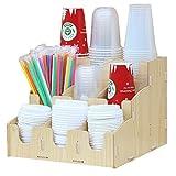 WanuigH Distributeur de Gobelets Bricolage Organisateur Boîte de Rangement Multi Compartiments Café Papier Porte-Coupe Jetable en Bois Facile à Utiliser (Couleur : Beige, Size : One Size)
